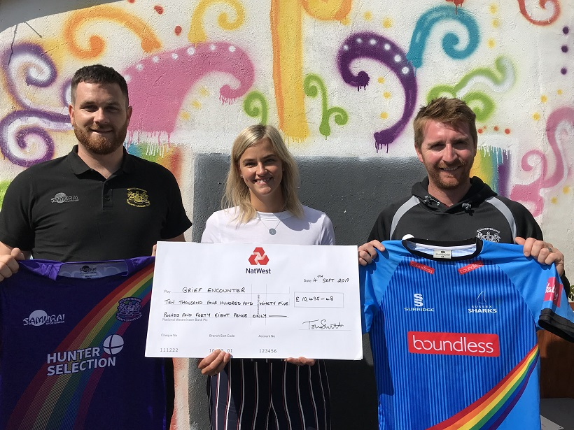 Community Engagement Officer Pete Lamb, Grief Encounter Fundraising Manager Chelsea Harding & Gloucestershire cricketer Tom Smith.