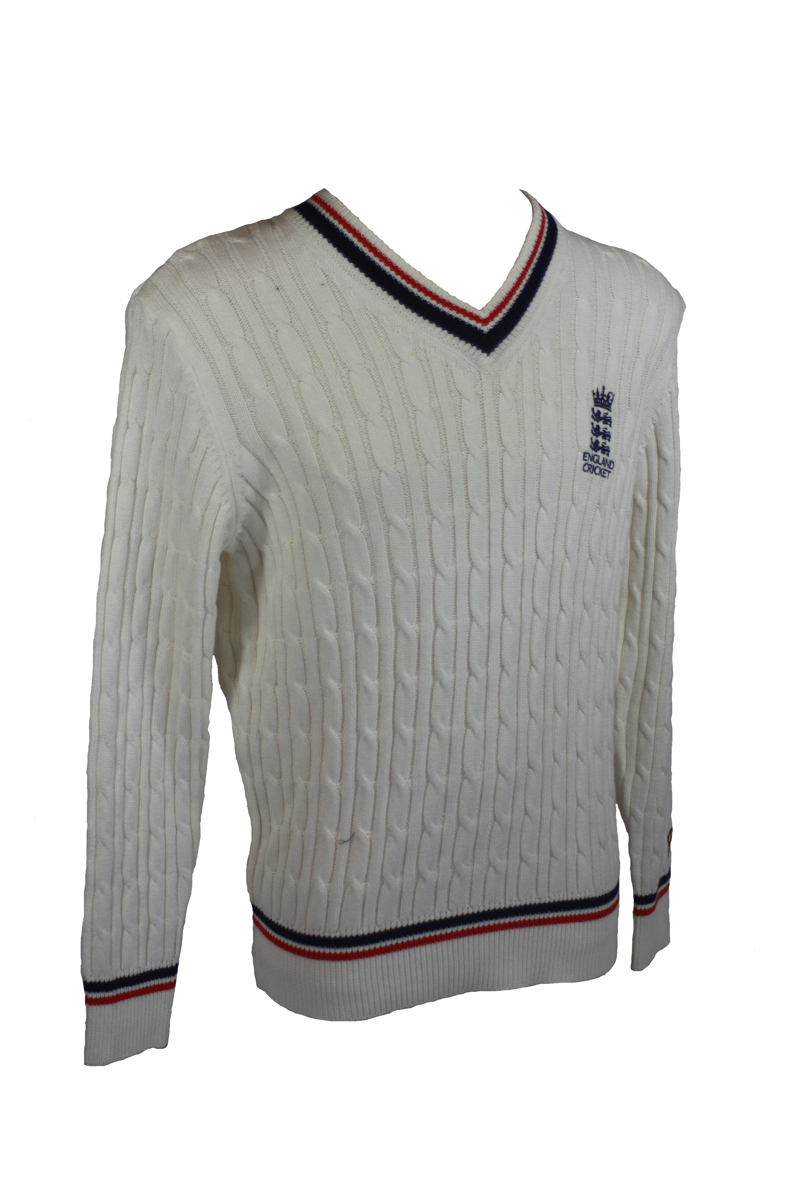 Knitting Pattern Cricket Jumper : England Cricket Classic Knit Jumper White Gloucestershire Cricket