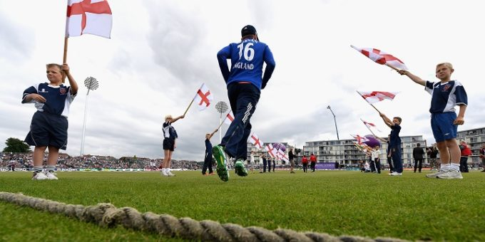 BRISTOL, ENGLAND - JUNE 26:  England captain Eoin Morgan runs out on to the field ahead of the 3rd ODI Royal London One Day International match between England and Sri Lanka at The County Ground on June 26, 2016 in Bristol, England.  (Photo by Gareth Copley/Getty Images)