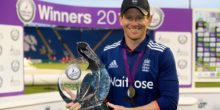 CARDIFF, ENGLAND - SEPTEMBER 04:  England captain Eoin Morgan with the series trophy after their 4-1 victory after the 5th One Day International between England and Pakistan at Swalec Stadium on September 4, 2016 in Cardiff, Wales.  (Photo by Stu Forster/Getty Images)