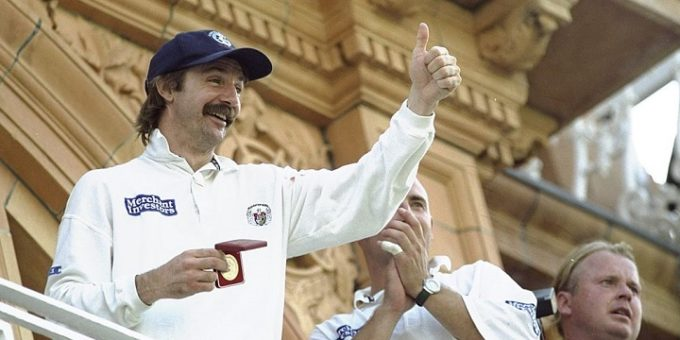 1 Aug 1999:  Jack Russell of Gloucestershire celebrates after winning the B&H Super Cup Final against Yorkshire played at Lords in London, England.  Mandatory Credit: Adrian Murrell /Allsport