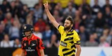 BRISTOL, ENGLAND - AUGUST 10:  Gloucestershire bowler Andrew Tye celebrates after dismissing Keaton Jennings during the NatWest T20 Blast quarter-final match between Gloucestershire and Durham Jets at Bristol County Ground on August 10, 2016 in Bristol, England.  (Photo by Stu Forster/Getty Images)