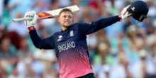 LONDON, ENGLAND - JUNE 01:  Joe Root of England celebrates hitting the winning runs as England the ICC Champions trophy cricket match between England and Bangladesh at The Oval in London on June 1, 2017  (Photo by Clive Rose/Getty Images)