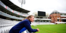 LONDON, ENGLAND - JULY 24: Anya Shrubsole of England poses from behind the boundary boards during the ICC Women's World Cup 2017 - Champions Press Conference at  on July 24, 2017 in London, England. (Photo by Harry Trump-IDI/IDI via Getty Images)