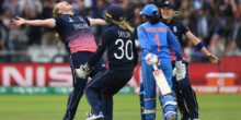 LONDON, ENGLAND - JULY 23:  Anya Shrubsole of England celebrates with team-mates Sarah Taylor and Heather Knight after taking the final India wicket of Rajeshwari Gayakwad to win the ICC Women's World Cup 2017 Final between England and India at Lord's Cricket Ground on July 23, 2017 in London, England.  (Photo by Shaun Botterill/Getty Images)