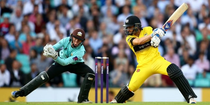 during the NatWest T20 Blast match between Surrey and Gloucestershire at The Kia Oval on August 17, 2017 in London, England.