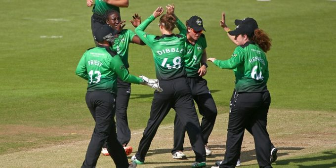 SOUTHAMPTON, ENGLAND - AUGUST 10: Stafanie Taylorof Western Storm celebrates taking the wicket of Hayley Matthews of Southern Vipers with team mates during the Kia Super League Match between Southern Vipers and Western Storm at The Ageas Bowl on August 10, 2017 in Southampton, England. (Photo by Charlie Crowhurst/Getty Images)