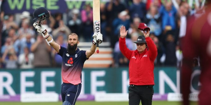 during the third Royal London One Day International match between England and West Indies at The Brightside Ground on September 24, 2017 in Bristol, England.