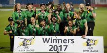 HOVE, ENGLAND - SEPTEMBER 01:  Players of Western Storm celebrates after winning the Women's Kia Super League Final between Southern Vipers and Western Storm at The 1st Central County Ground on September 1, 2017 in Hove, England.  (Photo by Mike Hewitt/Getty Images)