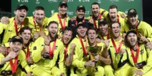 HOBART, AUSTRALIA - OCTOBER 21:  Western Australia celebrate with the trophy after the JLT One Day Cup Final match between Western Australia and South Australia at Blundstone Arena on October 21, 2017 in Hobart, Australia.  (Photo by Ryan Pierse/Getty Images)