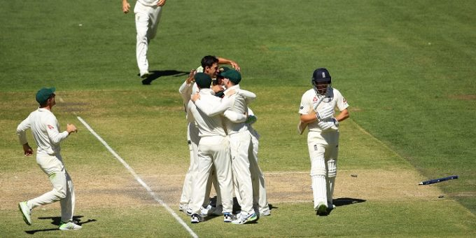 ADELAIDE, AUSTRALIA - DECEMBER 06:  Mitchell Starc of Australia celebrates with team mates after taking the final wicket of Jonny Bairstow of England and winning the test during day five of the Second Test match during the 2017/18 Ashes Series between Australia and England at Adelaide Oval on December 6, 2017 in Adelaide, Australia.  (Photo by Cameron Spencer/Getty Images)