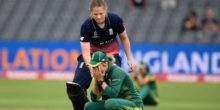BRISTOL, ENGLAND - JULY 18:  England batsman Anya Shrubsole goes over to console South Africa captain Dane van Niekerk during the ICC Women's World Cup 2017 Semi-Final between England and South Africa at The County Ground on July 18, 2017 in Bristol, England.  (Photo by Stu Forster/Getty Images)