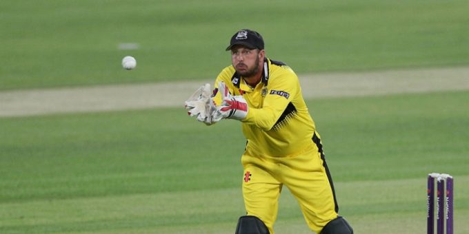 CANTERBURY, ENGLAND - JULY 18: Phil Mustard of Gloucestershire gathers the ball during the NatWest T20 Blast South Group match at The Spitfire Ground on July 18, 2017 in Canterbury, England. (Photo by Sarah Ansell/Getty Images). *** Local Caption *** Phil Mustard